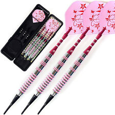 Pro Steel Tip Darts 17g With Pink Dart Flight Dart Soft head Set·For Lady New ##