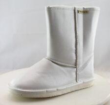 BEARPAW Comfort Winter Boots Mid-Calf White Leather Women Sz 7