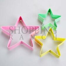 Multi Coloured Set of 3 Star Cookie Cutters Christmas Baby Themed Cookies