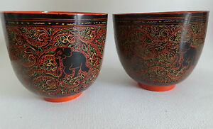 2 Horsehair Myanmar Lacquerware Bowls hand crafted