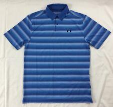Under Armour Men's Golf Polo Heat Gear Blue Stripes 1298947 Size M