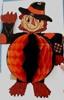 "Vintage ""Halloween"" Adorable Scarecrow w/ Large Black & Orange Honeycomb *"