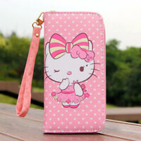 "Cute Hello Kitty Wallet with Strap Zipper Coin Purse 6"" Phone Bag Girl Gift"