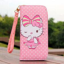 "Carino Hello Kitty portafoglio con cinturino zip portamonete 6"" Ragazza Telefono Borsa Regalo"