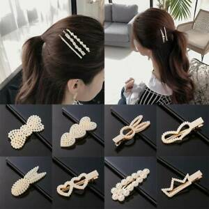 Women Girls Pearl Hair Clip Snap Barrette Stick Hairpin BobbyPin Accessories