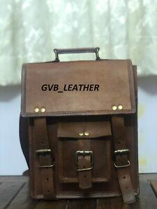 Men's Authentic Leather Vintage Shoulder Large Brown Satchel Handbag Genuine Bag