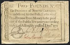 Rare North Carolina Two Pounds Dec 1771 Colonial Currency Note Bt2763