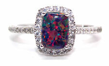 Sterling Silver Black Fire Opal And Diamond 3.6ct Ring (925) Size 7 (N)