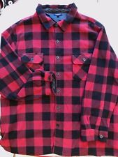 Croft & Barrow Mens 4XB Fleece Shirt Button Down Front Buffalo Plaid Long Sleeve