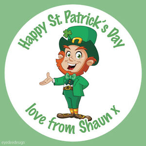 Personalised Happy St Patrick's Day Leprechaun Stickers Party Sweets Cake - 447