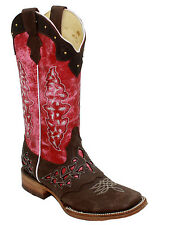 Ladies Genuine Leather Western Tall Cowboy Boots Lazer Cut/Studded Style-3216208