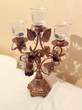 NEW Antique Gold 3ARM Ornate Handcrafted  floral CANDELABRA.by OPULENT TREASURES