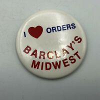 Vintage I Love Heart Barclay's Midwest Advertising Button Pin Pinback   M2