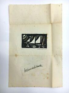 William de Belleroche Original Signed Woodprint Plus Separate Autograph