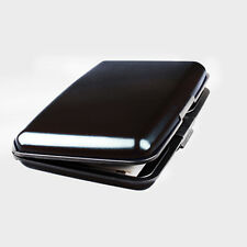 Aluminum Metal Wallet Business ID Credit Card Case Holder Anti RFID Scanning Black