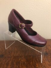 CLARKS Bendables Sz 7 Leather Heel Mary Jane Strap Pump Shoe Maroon Comfort