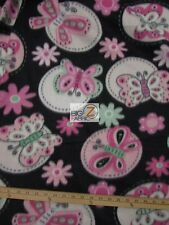 """BUTTERFLY PRINT POLAR FLEECE FABRIC- Black/Baby Pink Butterfly -60"""" SOLD BTY 580"""
