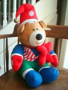"Vintage KOREA Puffalump? Type Toy Plush Stuffed Poly Santa Hat BEAR 23"" wow"