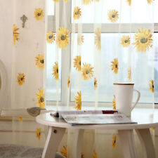 Voile Floral Sunflower Pattern Tulle Curtain Window Blind Screening Curtain