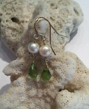 14k Solid Yellow Gold Pearl And Teardrop Peridot earrings