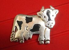 Mexico Moving Head Cow Brooch/Pin Sterling Silver 925 Th - 53