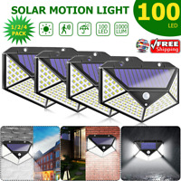 100LED Solar Luz de Pared Sensor de Movimiento Lámpara Exterior Impermeable