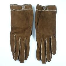 """Vtg. Brown Suede Leather Gloves Sz. 7 White Edge Stitched 8.25"""" Long NEW"""