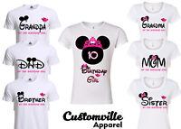 Minnie Birthday Girl Family Matching T-shirts. disney Pink Theme party shirts