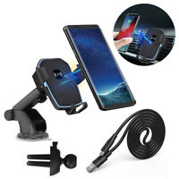 Fast Qi Wireless Car Charger Dock Holder For iPhone 8 X XS Samsung S10 Note 10 9