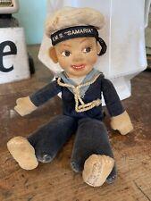 Antique Nora Welling Cloth Sailor Boy Doll Blue Velvet Hat England Rms Samaria