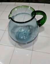 Hand Blown Blue Bubble Glass Pitcher with Beautiful Green Rim and Handle 3 qt