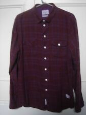 Norse Projects Burgundy & Subtle Blue / Purple Checked Winter Shirt Size Large