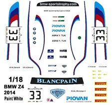 #33 Alex Zanardi BMW Z4 2014 1/18th Scale Slot Car Waterslide Decals