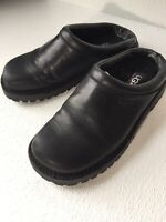 Ugg 5320 Black Leather Slip On Clog Shoes Womens 5 Shearling Lined