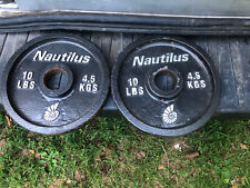 """Two 10lbs Nautilus Olympic 2"""" hole Barbell Weight Plates"""