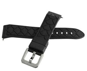 LOCMAN Men's 20mm x 19mm Black & Rubber Silver Buckle Band