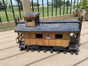 Rare Union Pacific Railroad Caboose Real Wood Planter Bird House
