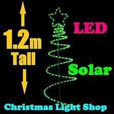 1.2m GREEN Ropelight SOLAR LED Spiral Christmas Tree Outdoor Garden Light