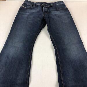 Diesel Jeans Men's 32 x 30 ZAF Boot Cut Fade Blue Heavy Denim Pants Button Fly