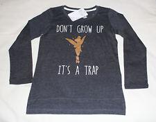 Disney Tinkerbell Girls Dark Grey Printed Long Sleeve T Shirt Size 8 New