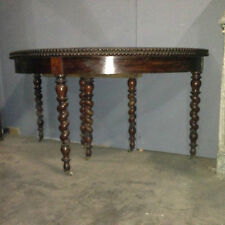 table demi lune ,en acajou de cuba , pieds torsade,bord en gaudron .XIX siècle .