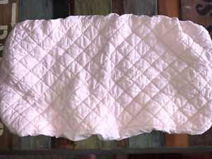 Land Of Nod blush pale pink white arrow like pattern quilted changing pad cover