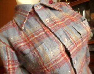 SMALL True Vtg 70s JC PENNEY LOGGER RED/GRAY FLANNEL Country Camp Top boys 14