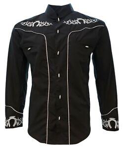 Charro Shirt Long Sleeve El Señor de los Cielos Camisa Charra Black Horseshoe