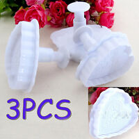 3PCS Heart Cake Fondant Decorating Mold Cutter Cookies Sugarcraft Plunger Mould