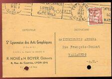 CARTE POSTALE LYON POUR VALLAURIS 1945