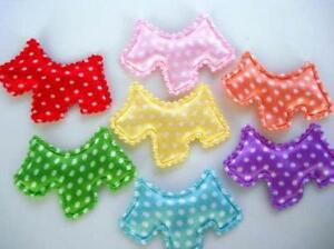 SALE~70 Satin Polka Dots Scottie Dog Applique/puppy/pet bow/trim/Craft/baby H349