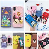 Disney Cartoon Cute Silicone Case For iPhone XS Max XR 8Plus&Samsung S9 S7 Edge
