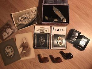 JUNK DRAWER BOX LOT- KNIFE, Photos, 2 Zippo lighters, VTG Tobacco Pipe, Badges