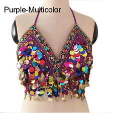 0b7ec166c739e2 Rainbow Mermaid Body Chain Sequin Bralet Beach Mirror Harness Crop Top Bra  New
